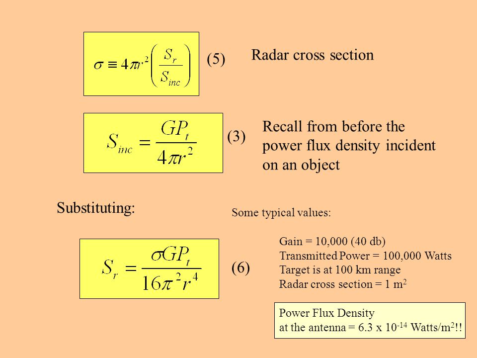 Radar cross section Recall from before the power flux density incident on an object Substituting: (5) (3) Some typical values: Gain = 10,000 (40 db) Transmitted Power = 100,000 Watts Target is at 100 km range Radar cross section = 1 m 2 Power Flux Density at the antenna = 6.3 x 10 -14 Watts/m 2 !.