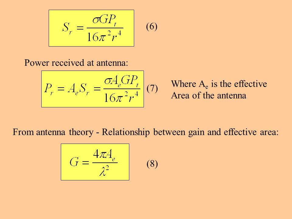 Power received at antenna: Where A e is the effective Area of the antenna From antenna theory - Relationship between gain and effective area: (6) (7) (8)