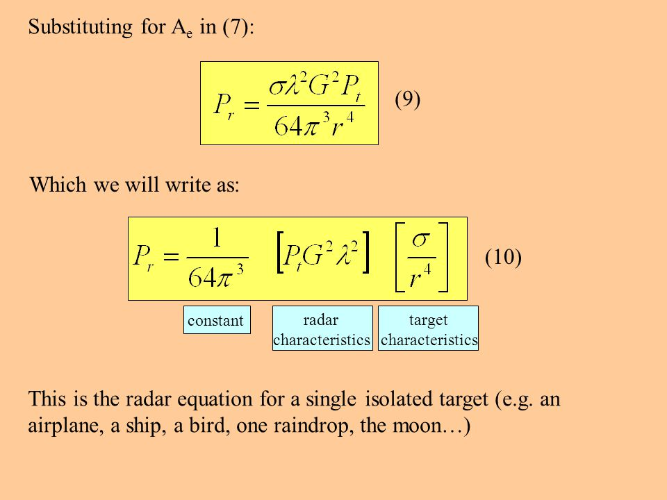 Substituting for A e in (7): (9) Which we will write as: constant radar characteristics target characteristics This is the radar equation for a single isolated target (e.g.