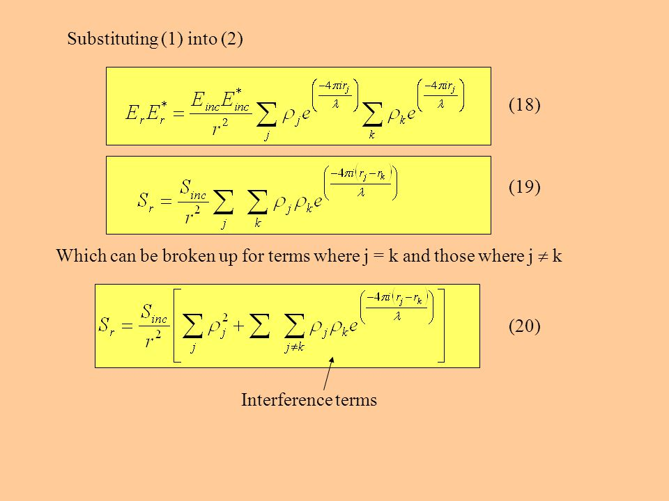 Substituting (1) into (2) Which can be broken up for terms where j = k and those where j  k Interference terms (18) (19) (20)