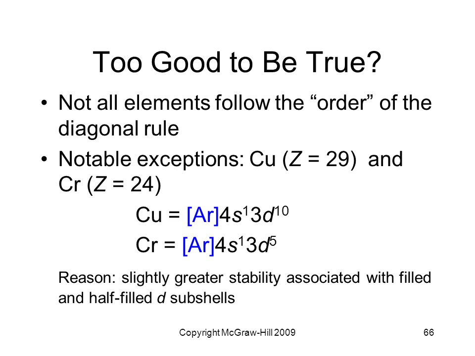"""Copyright McGraw-Hill 200966 Too Good to Be True? Not all elements follow the """"order"""" of the diagonal rule Notable exceptions: Cu (Z = 29) and Cr (Z ="""