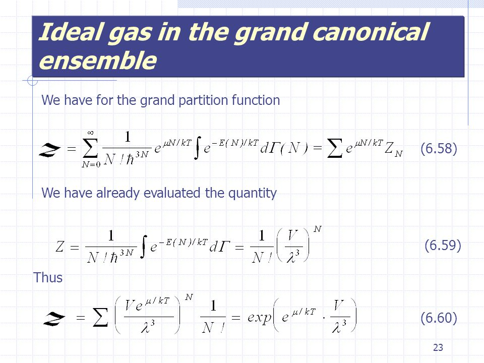 23 Ideal gas in the grand canonical ensemble We have for the grand partition function We have already evaluated the quantity (6.58) (6.59) Thus (6.60)