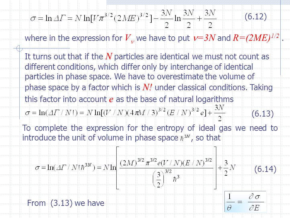 7 where in the expression for V we have to put =3N and R=(2ME) 1/2. It turns out that if the N particles are identical we must not count as different