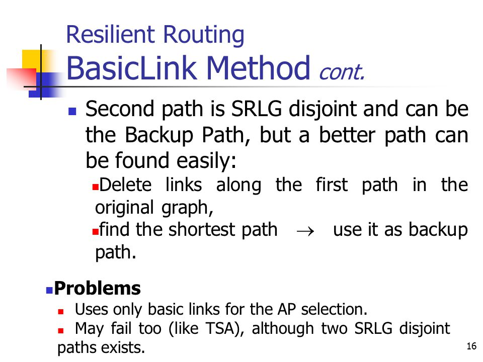 16 Resilient Routing BasicLink Method cont. Second path is SRLG disjoint and can be the Backup Path, but a better path can be found easily: Delete lin