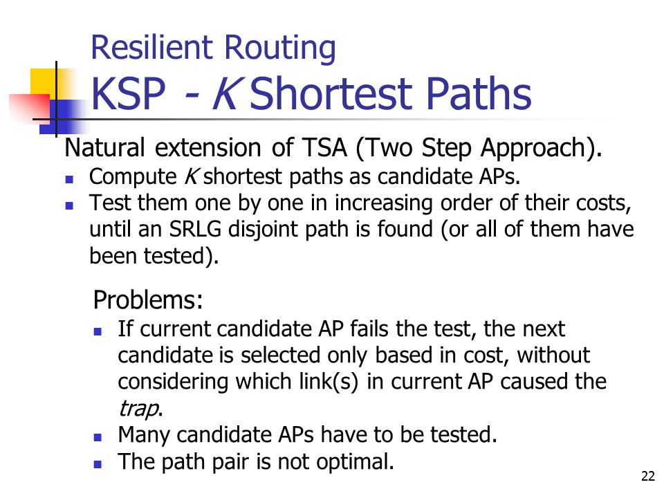 22 Resilient Routing KSP - K Shortest Paths Natural extension of TSA (Two Step Approach). Compute K shortest paths as candidate APs. Test them one by