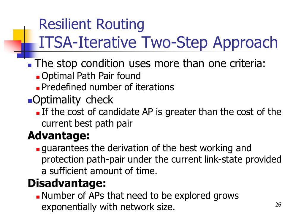 26 Resilient Routing ITSA-Iterative Two-Step Approach The stop condition uses more than one criteria: Optimal Path Pair found Predefined number of ite