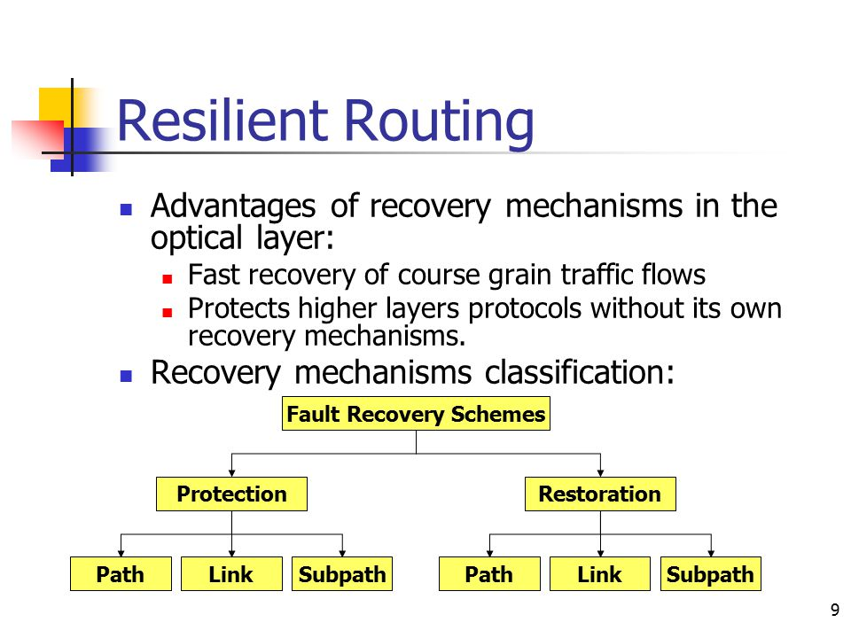 9 Resilient Routing Advantages of recovery mechanisms in the optical layer: Fast recovery of course grain traffic flows Protects higher layers protoco