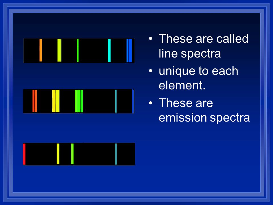 These are called line spectra unique to each element. These are emission spectra