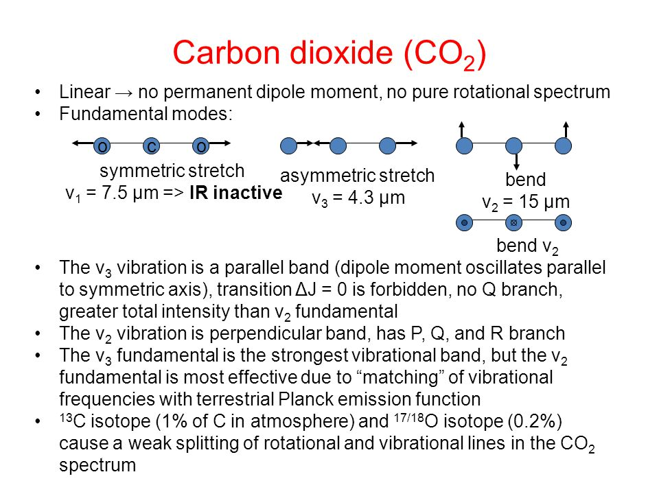 Carbon dioxide (CO 2 ) Linear → no permanent dipole moment, no pure rotational spectrum Fundamental modes: The v 3 vibration is a parallel band (dipol