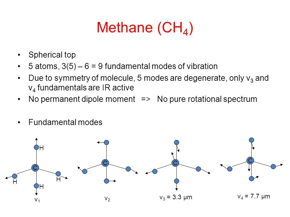 Methane (CH 4 ) Spherical top 5 atoms, 3(5) – 6 = 9 fundamental modes of vibration Due to symmetry of molecule, 5 modes are degenerate, only v 3 and v