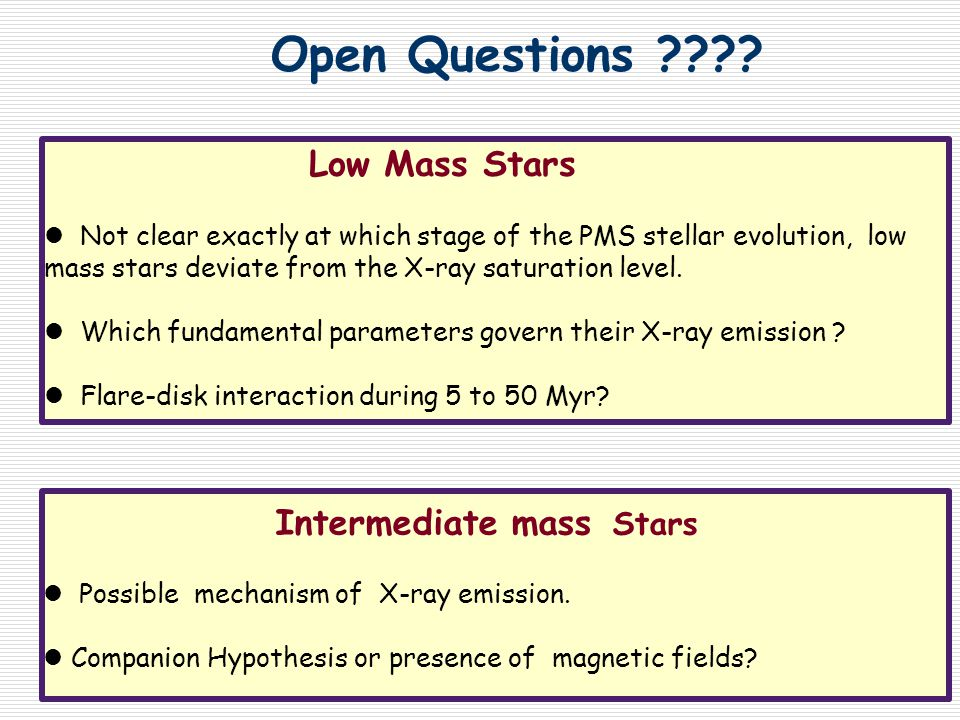 Low Mass Stars Not clear exactly at which stage of the PMS stellar evolution, low mass stars deviate from the X-ray saturation level.