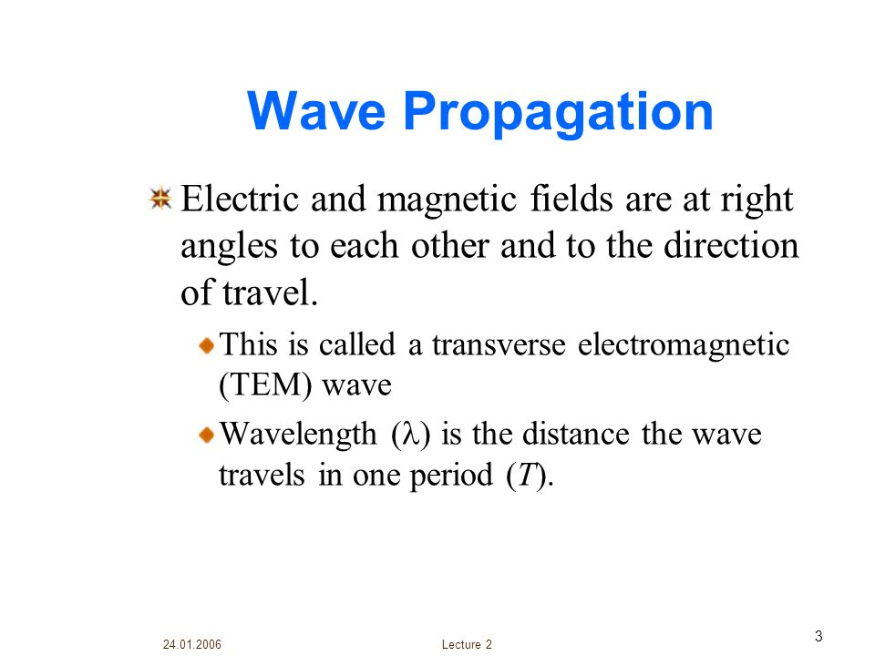 24.01.2006 Lecture 2 4 A light wave consists of electric and magnetic fields