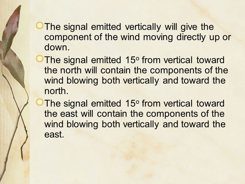 The signal emitted vertically will give the component of the wind moving directly up or down. The signal emitted 15 o from vertical toward the north w