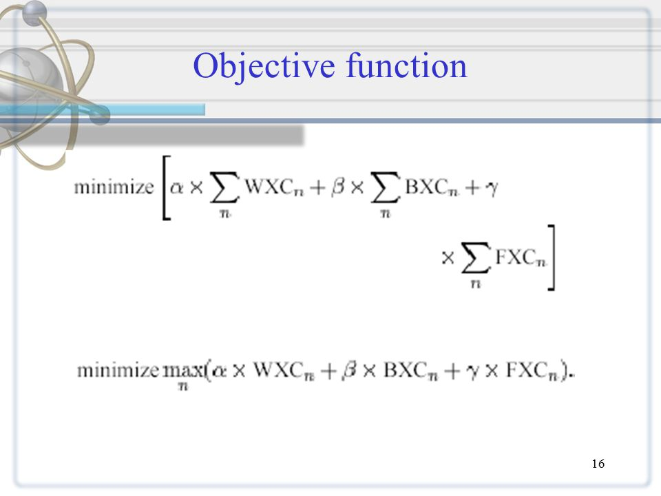 16 Objective function