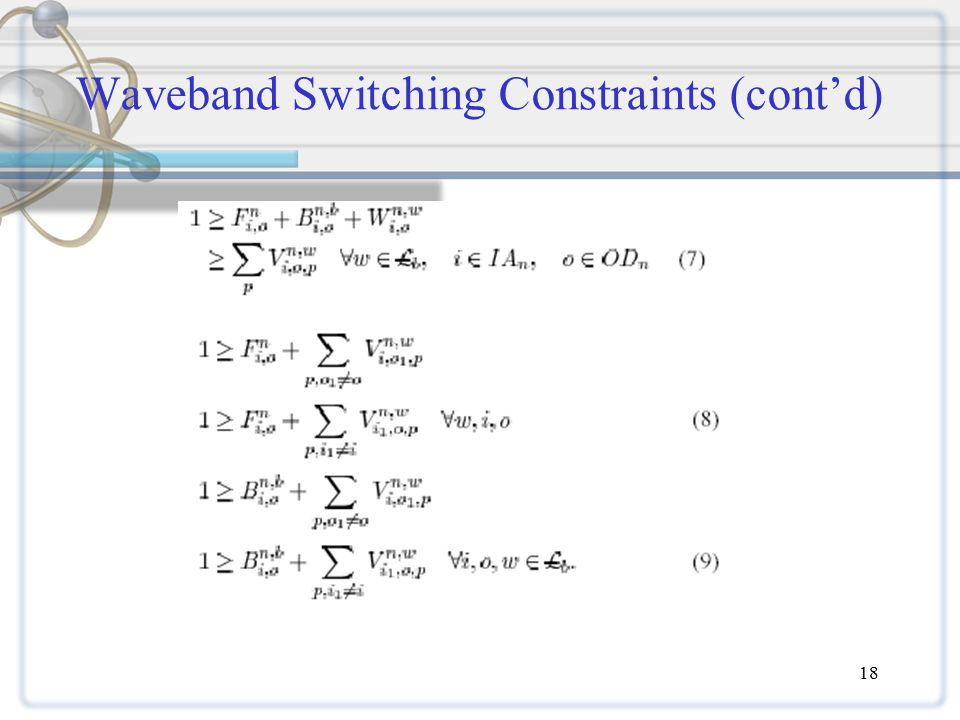 18 Waveband Switching Constraints (cont'd)