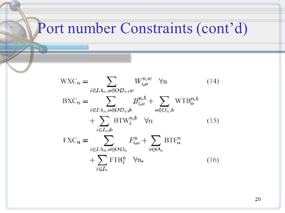 20 Port number Constraints (cont'd)