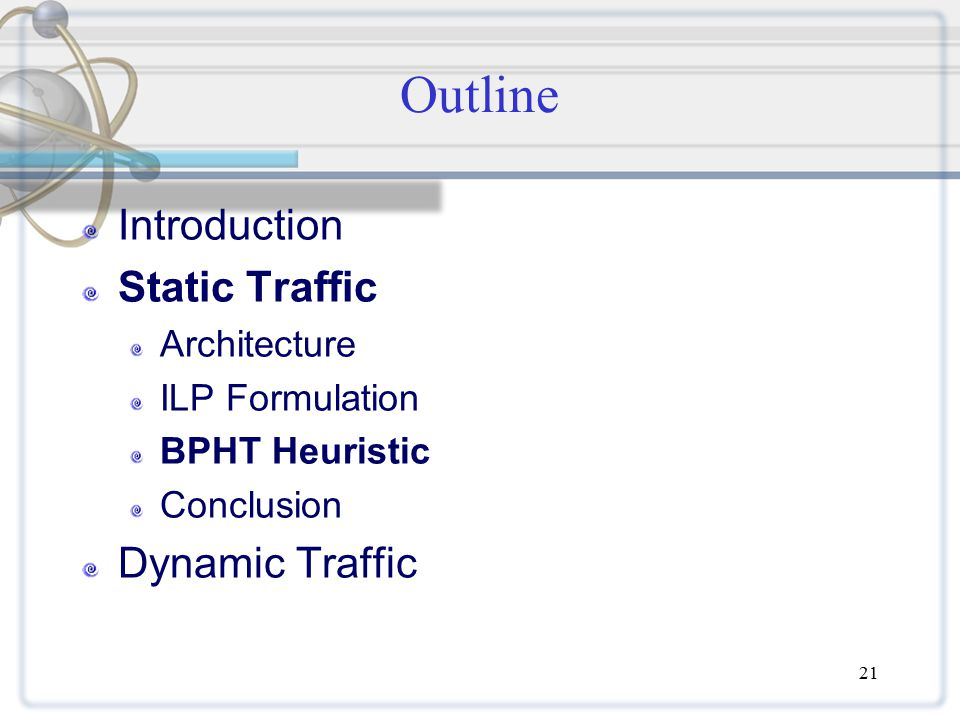 21 Outline Introduction Static Traffic Architecture ILP Formulation BPHT Heuristic Conclusion Dynamic Traffic