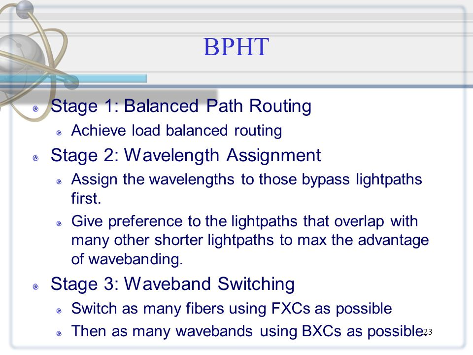 23 BPHT Stage 1: Balanced Path Routing Achieve load balanced routing Stage 2: Wavelength Assignment Assign the wavelengths to those bypass lightpaths first.