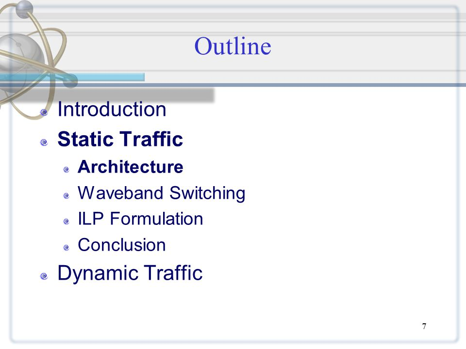 28 Outline Introduction Static Traffic Architecture ILP Formulation BPHT Heuristic Conclusion Dynamic Traffic