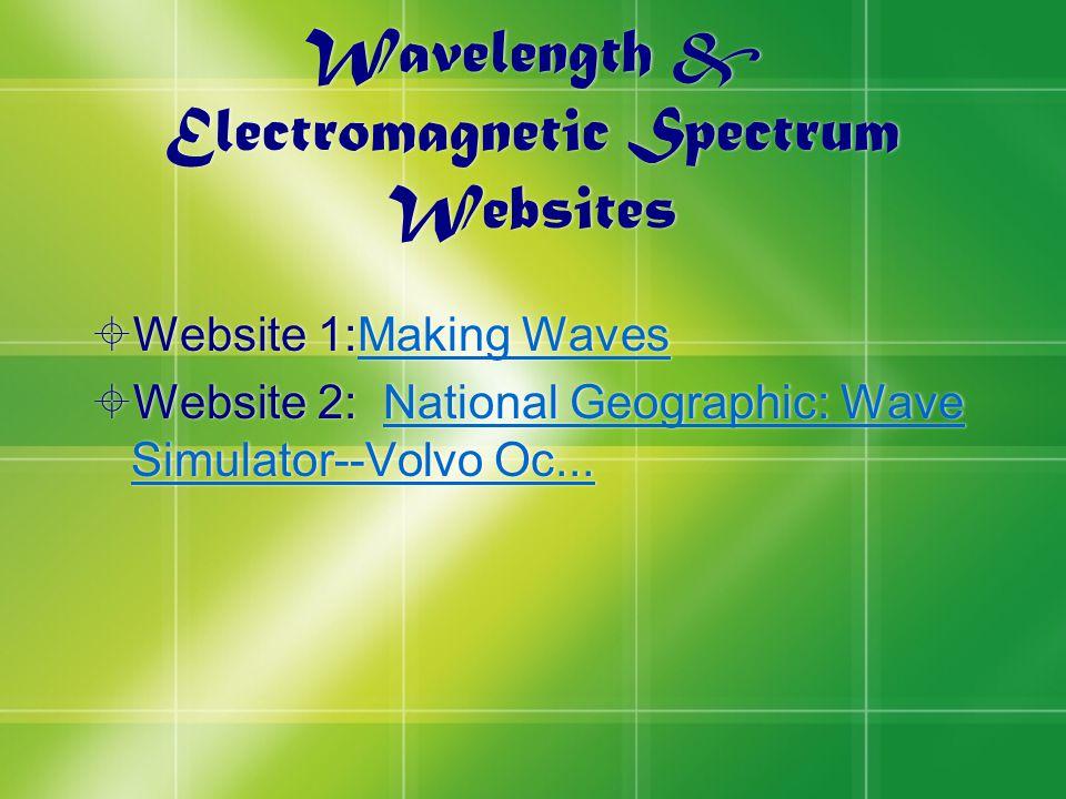 Wavelength & Electromagnetic Spectrum Websites  Website 1:Making WavesMaking Waves  Website 2: National Geographic: Wave Simulator--Volvo Oc...National Geographic: Wave Simulator--Volvo Oc...