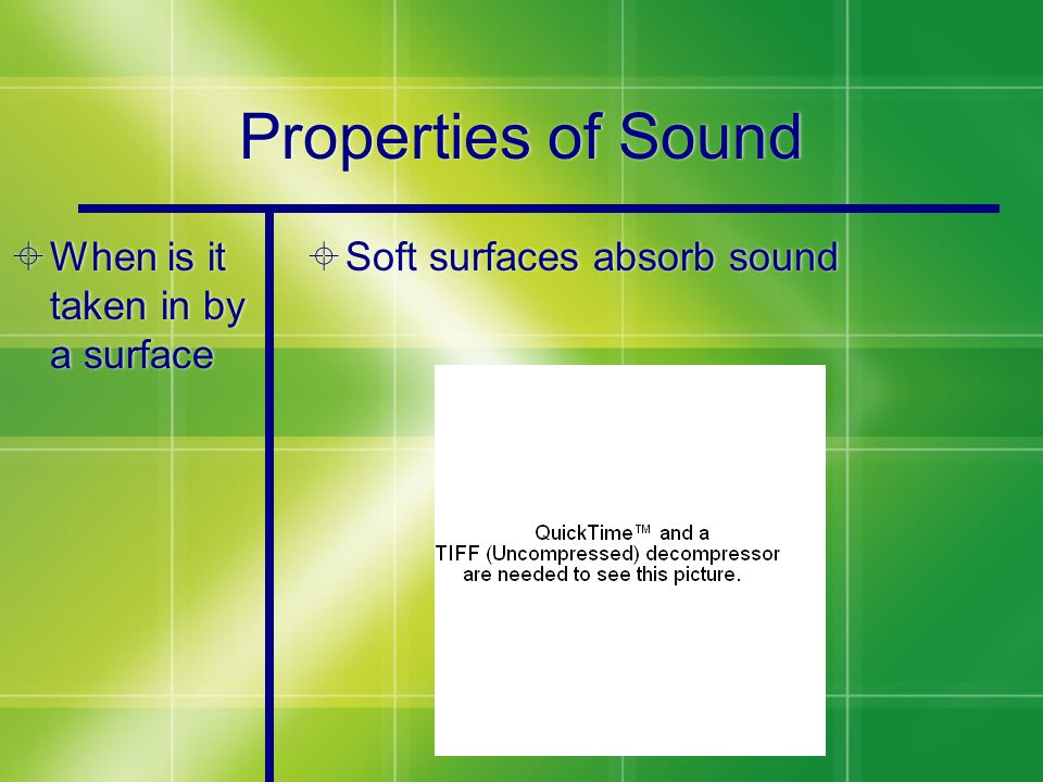 Properties of Sound  When is it taken in by a surface  Soft surfaces absorb sound