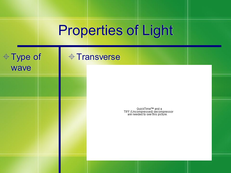 Properties of Light  Type of wave  Transverse