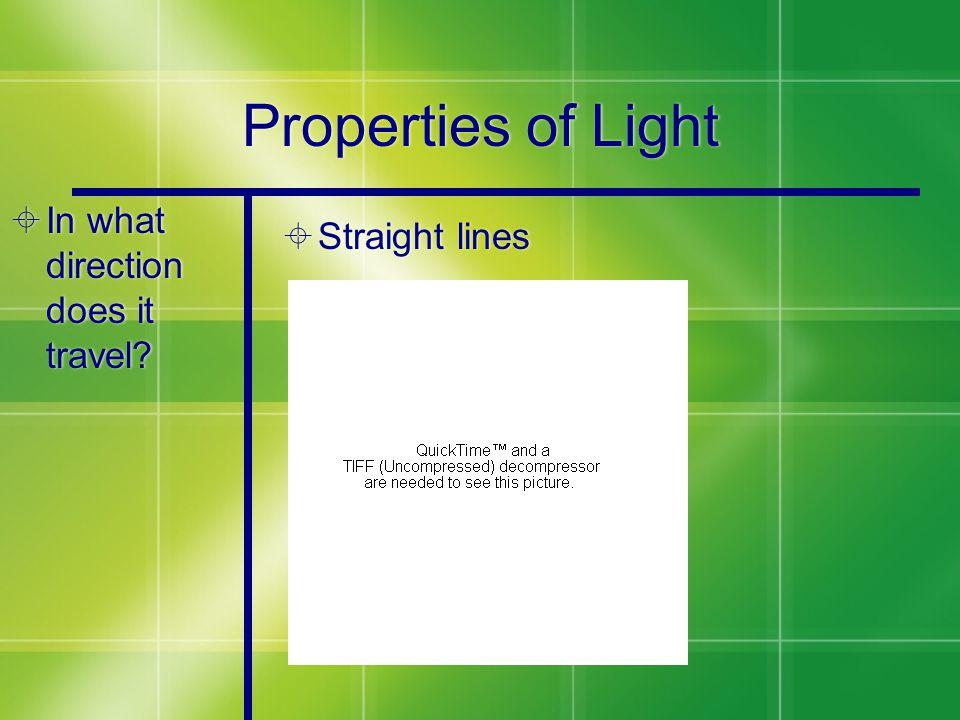 Properties of Light  In what direction does it travel?  Straight lines