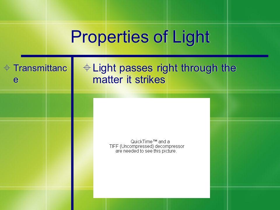 Properties of Light  Transmittanc e  Light passes right through the matter it strikes
