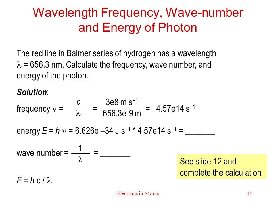 Electrons in Atoms15 Wavelength Frequency, Wave-number and Energy of Photon The red line in Balmer series of hydrogen has a wavelength = 656.3 nm.