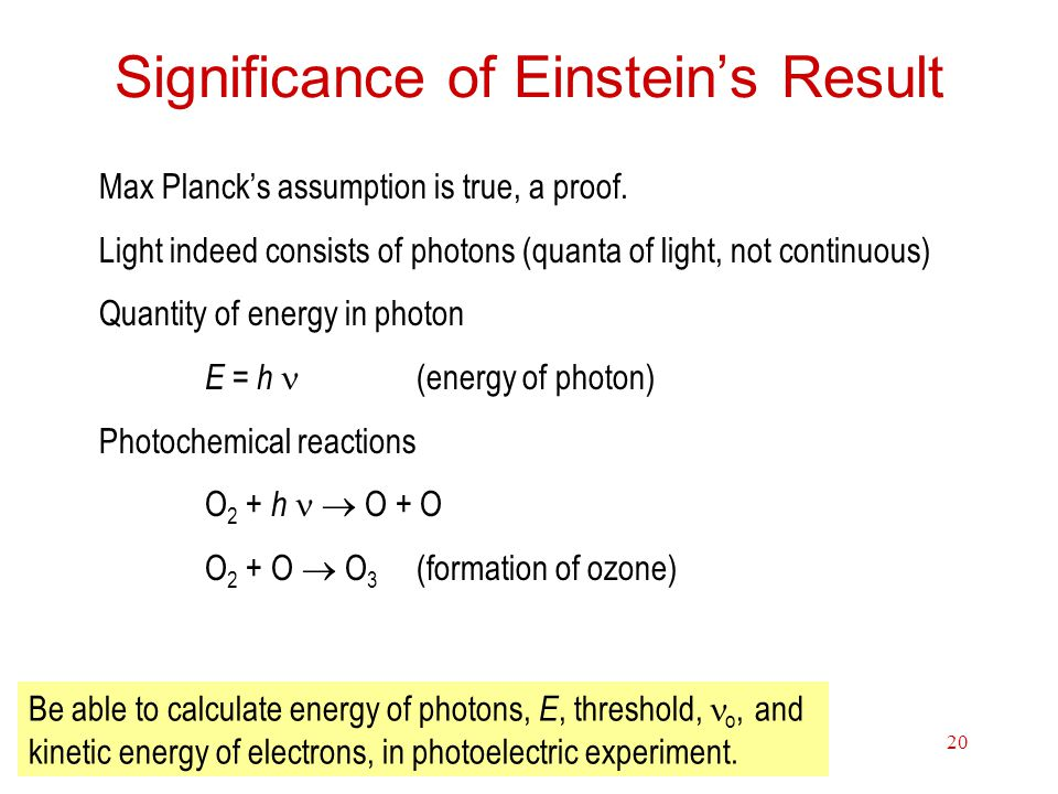 Electrons in Atoms20 Significance of Einstein's Result Max Planck's assumption is true, a proof.