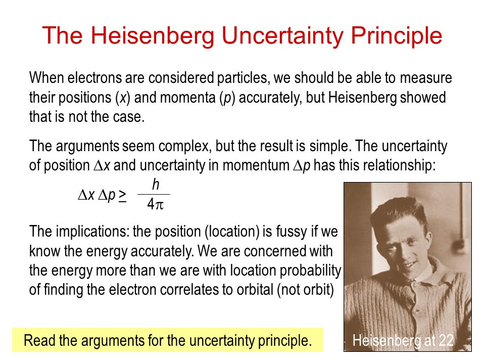Electrons in Atoms30 The Heisenberg Uncertainty Principle When electrons are considered particles, we should be able to measure their positions ( x ) and momenta ( p ) accurately, but Heisenberg showed that is not the case.