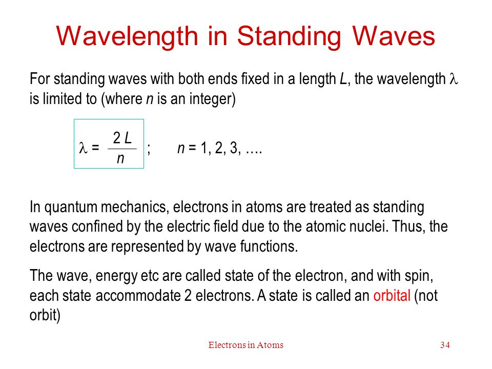 Electrons in Atoms34 Wavelength in Standing Waves For standing waves with both ends fixed in a length L, the wavelength is limited to (where n is an integer) = ; n = 1, 2, 3, ….