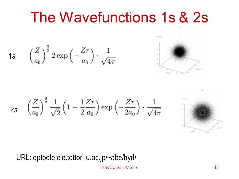Electrons in Atoms48 The Wavefunctions 1s & 2s 1s1s 2s2s URL: optoele.ele.tottori-u.ac.jp/~abe/hyd/