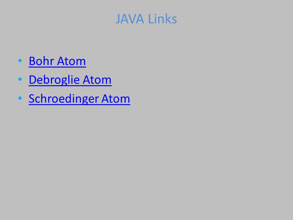 JAVA Links Bohr Atom Debroglie Atom Schroedinger Atom