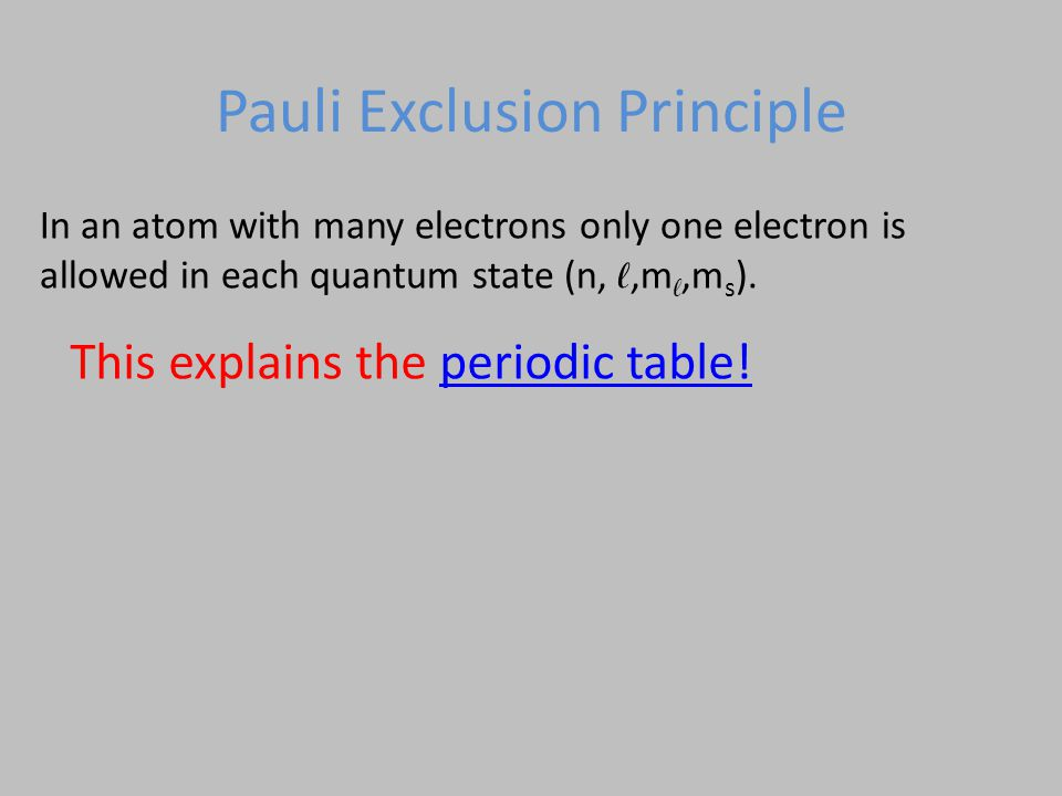 In an atom with many electrons only one electron is allowed in each quantum state (n, ℓ,m ℓ,m s ).