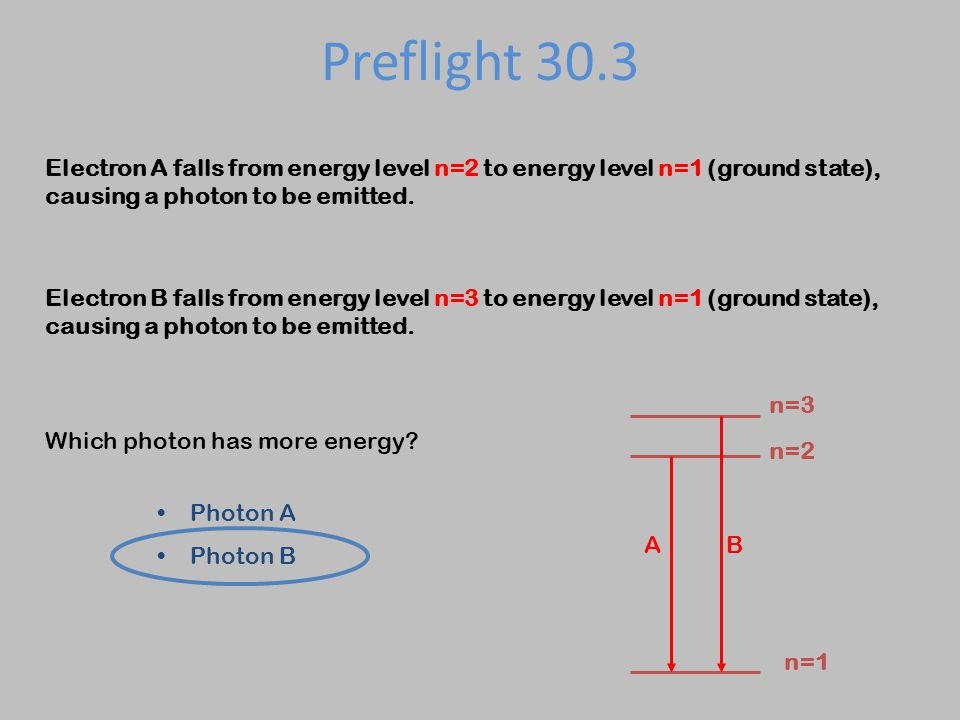 Preflight 30.3 Electron A falls from energy level n=2 to energy level n=1 (ground state), causing a photon to be emitted. Electron B falls from energy