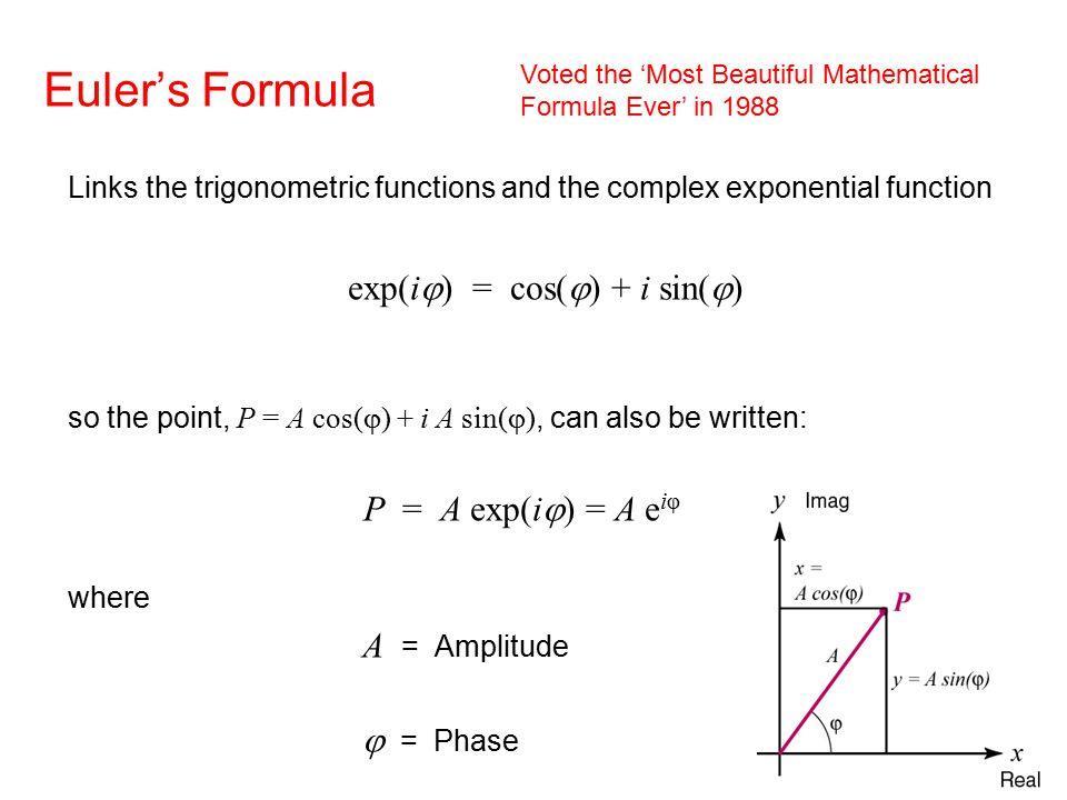 Euler's Formula Links the trigonometric functions and the complex exponential function exp(i  ) = cos(  ) + i sin(  ) so the point, P = A cos(  ) + i A sin(  ), can also be written: P = A exp(i  ) = A e iφ where A = Amplitude   = Phase Voted the 'Most Beautiful Mathematical Formula Ever' in 1988