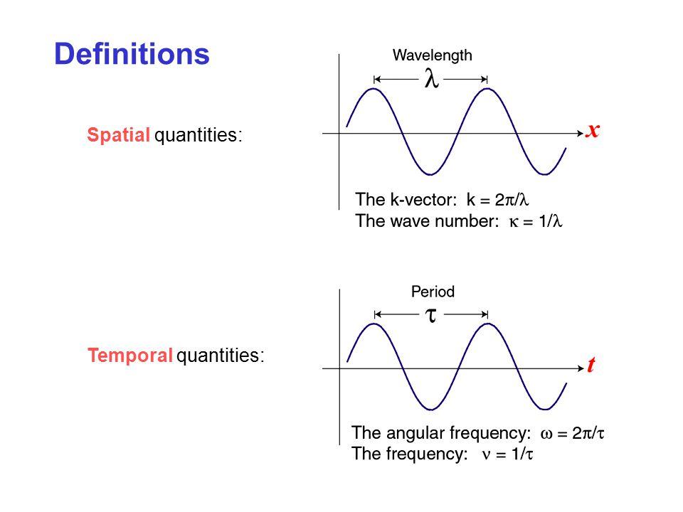 Definitions Spatial quantities: Temporal quantities: