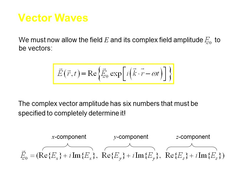 We must now allow the field E and its complex field amplitude to be vectors: Vector Waves The complex vector amplitude has six numbers that must be specified to completely determine it.