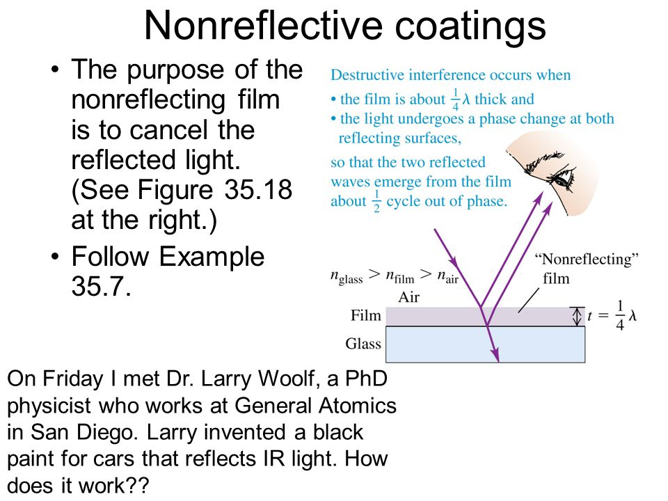 Nonreflective coatings The purpose of the nonreflecting film is to cancel the reflected light.