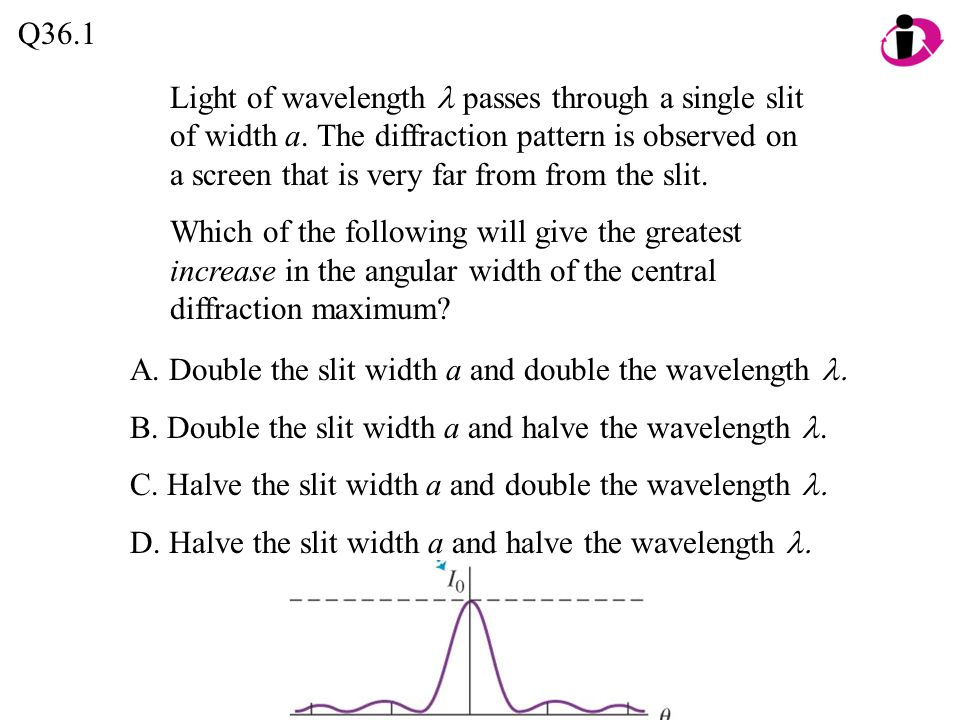 Q36.1 A. Double the slit width a and double the wavelength  B.