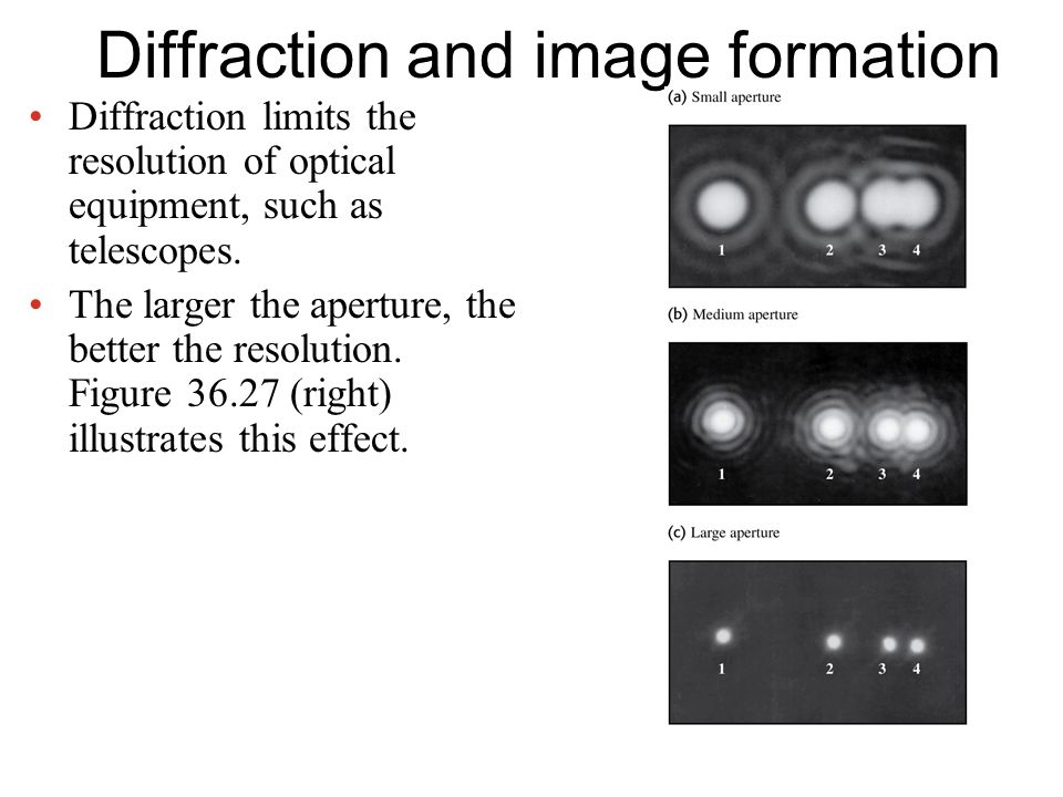 Diffraction and image formation Diffraction limits the resolution of optical equipment, such as telescopes.