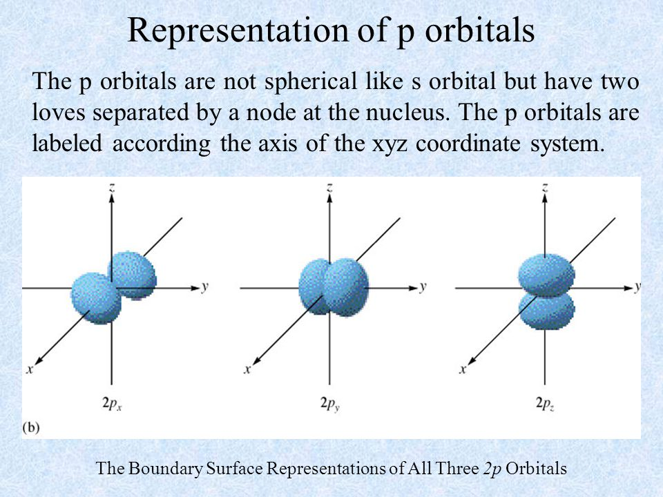 Representation of p orbitals The p orbitals are not spherical like s orbital but have two loves separated by a node at the nucleus. The p orbitals are