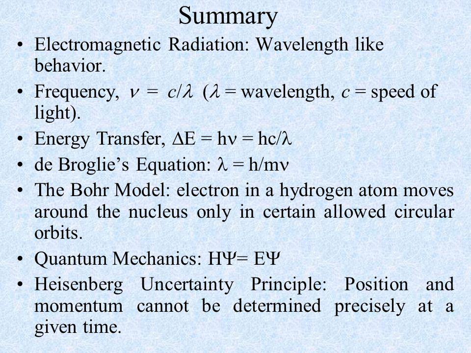 Summary Electromagnetic Radiation: Wavelength like behavior. Frequency, = c/  ( = wavelength, c = speed of light). Energy Transfer,  E = h = hc/ de