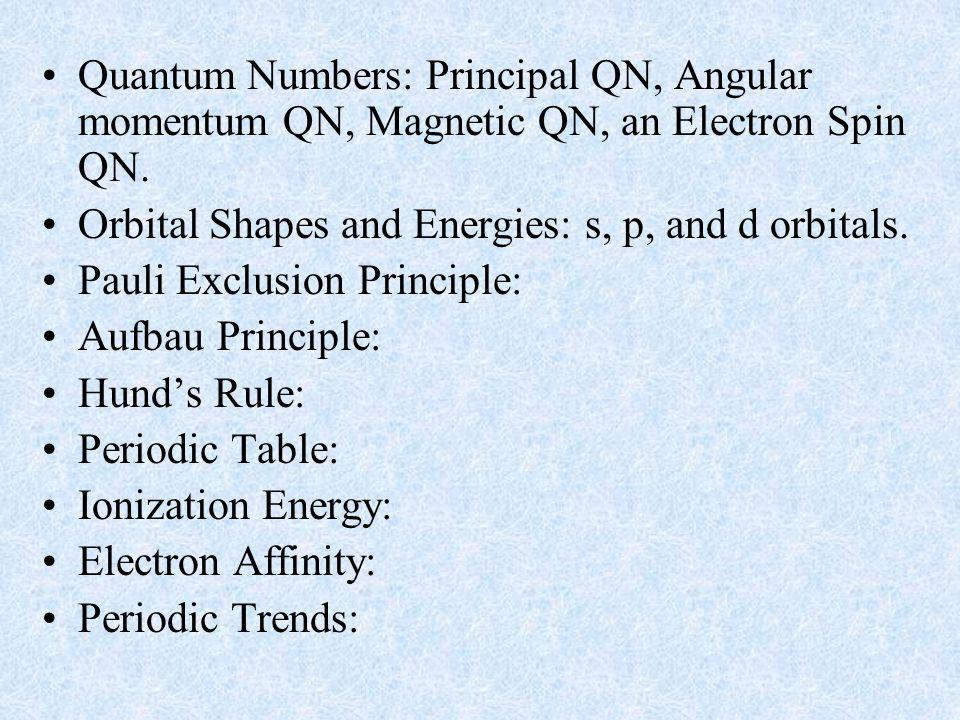 Quantum Numbers: Principal QN, Angular momentum QN, Magnetic QN, an Electron Spin QN. Orbital Shapes and Energies: s, p, and d orbitals. Pauli Exclusi