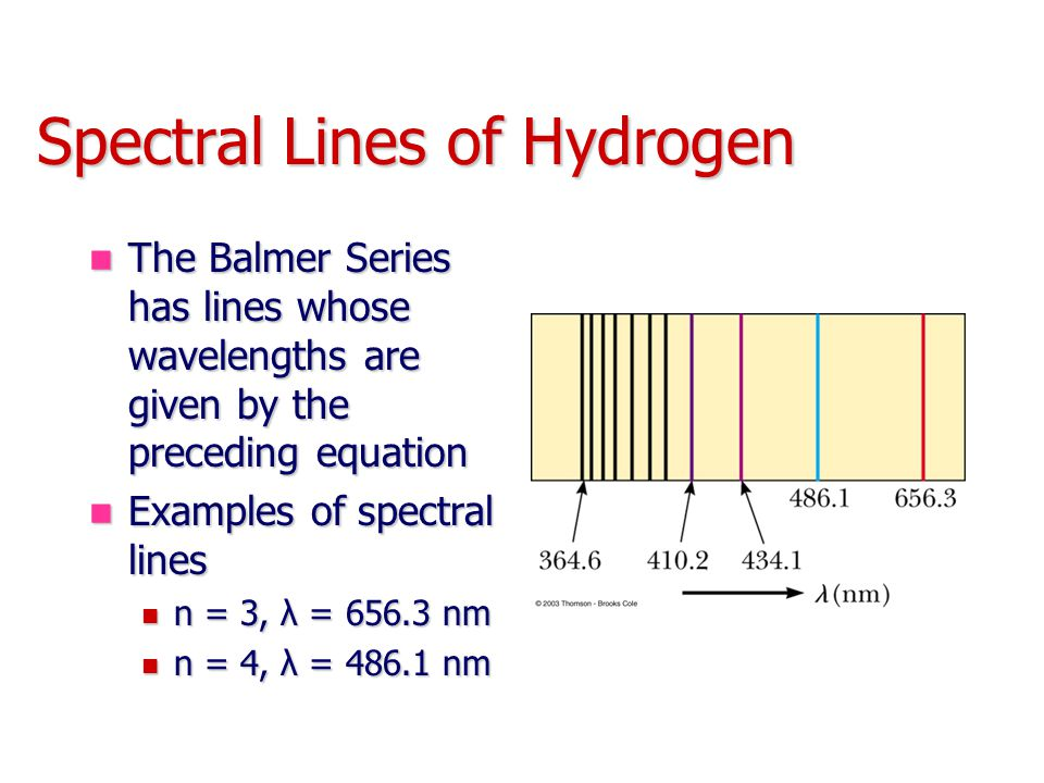 Spectral Lines of Hydrogen The Balmer Series has lines whose wavelengths are given by the preceding equation The Balmer Series has lines whose wavelengths are given by the preceding equation Examples of spectral lines Examples of spectral lines n = 3, λ = 656.3 nm n = 3, λ = 656.3 nm n = 4, λ = 486.1 nm n = 4, λ = 486.1 nm