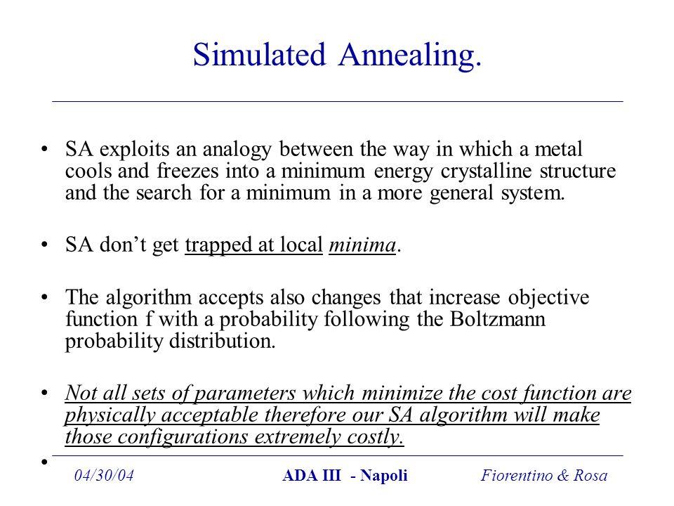 Fiorentino & Rosa04/30/04ADA III - Napoli Simulated Annealing.