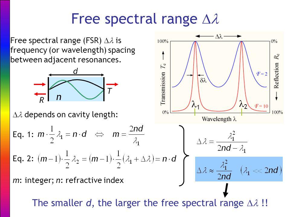 Free spectral range  Free spectral range (FSR)  is frequency (or wavelength) spacing between adjacent resonances. n T d R 1 2 The smaller d, the lar