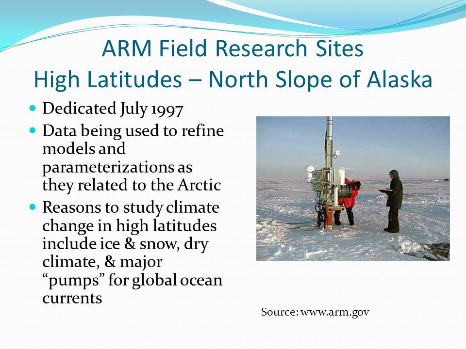 ARM Field Research Sites High Latitudes – North Slope of Alaska Dedicated July 1997 Data being used to refine models and parameterizations as they related to the Arctic Reasons to study climate change in high latitudes include ice & snow, dry climate, & major pumps for global ocean currents Source: www.arm.gov
