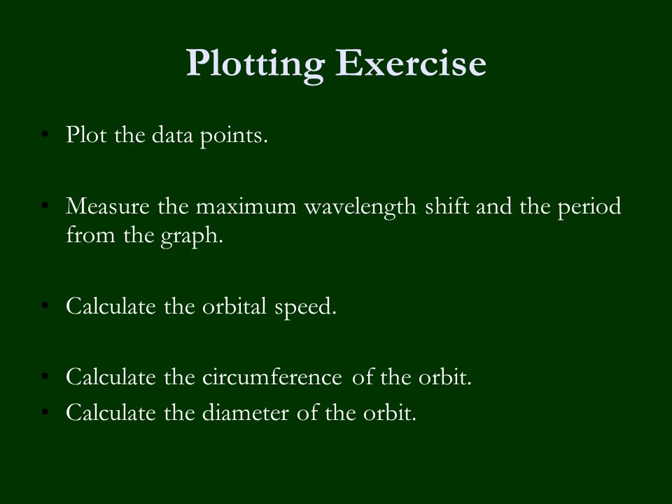 Plotting Exercise Plot the data points. Measure the maximum wavelength shift and the period from the graph. Calculate the orbital speed. Calculate the